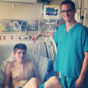 Adam and Dr. McMullan after surgery