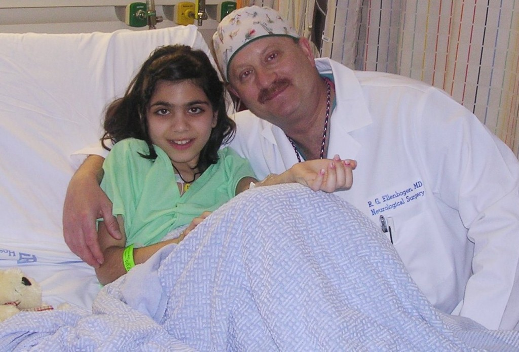 Dr. Richard G. Ellenbogen with patient Nina Jubran 12 years ago after he performed life-saving surgery to remove a brain tumor.
