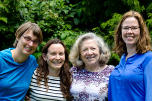 Dr. Kym Ahrens (left) with Camp Inside-Out colleagues (left to right), Heather Spielvogle, Mavis Bonnar and Alexis Coatney.