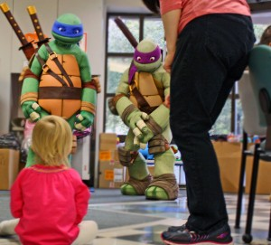 Little girl with Ninja Turtles