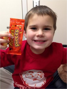 At first Colin did not know if he even liked peanuts, but after eating a few Reese's Pieces in Seattle Children's Food Allergy Challenge Clinic with no allergic reaction, he was hooked!